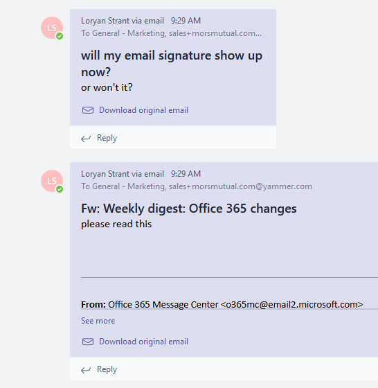 Cleaner email signatures in Microsoft Teams