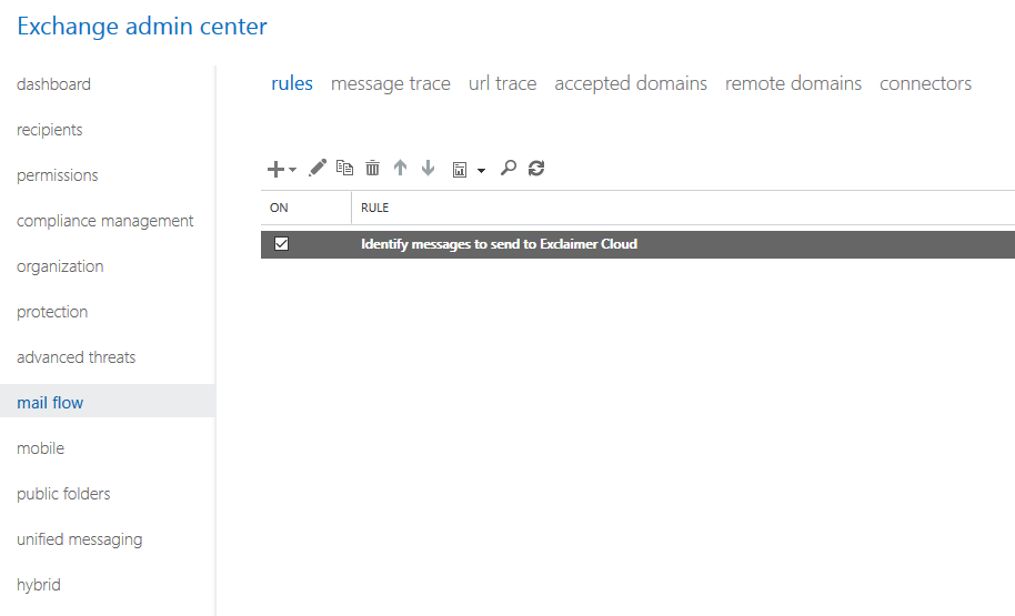 Exchange admin center mail flow