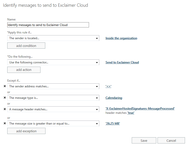 Identify message to send to Exclaimer Cloud