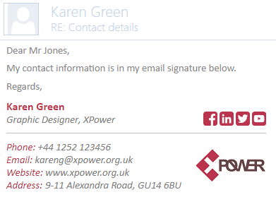 Email signature with an email address