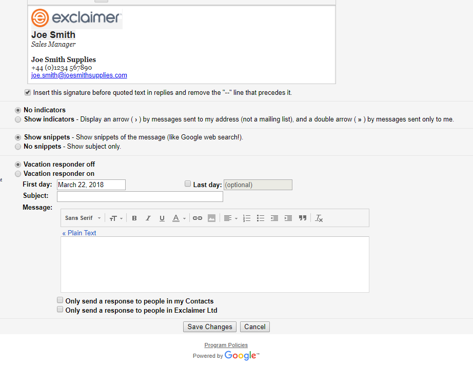 Create a professional Gmail signature | Exclaimer