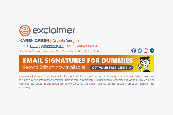 Email signature marketing example promoting an eBook