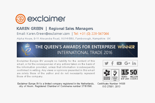 Email signature marketing example showcasing an award win