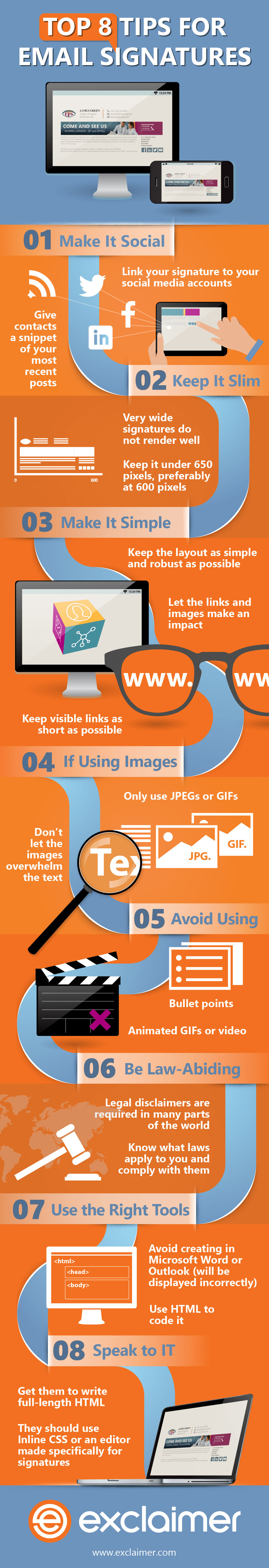 Infographic on top 8 professional email signatures tips