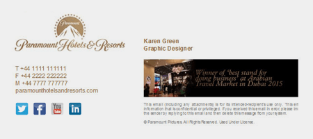 An example of strong email signature branding.