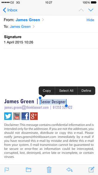 Create an HTML iPhone email signature | Exclaimer