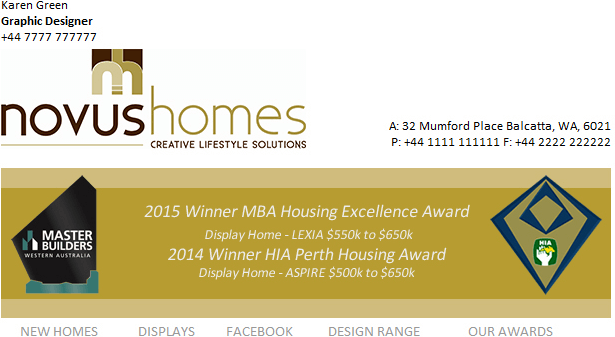 Using an email signature banner to promote winning industry awards.