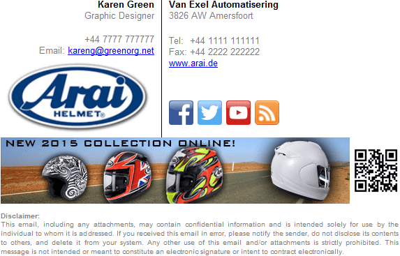 Signature promoting a new range of motorcycle helmets to customers.