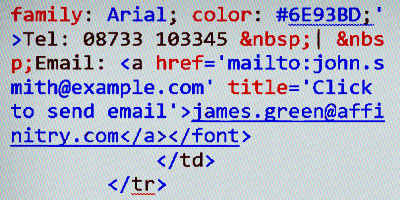 IT can create email signatures with HTML code.