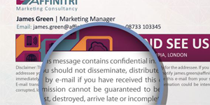 Adding a disclaimer to an email signature