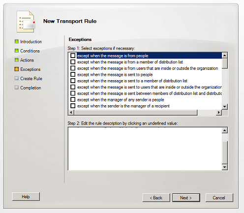 Create exceptions for the Exchange 2010 signature.