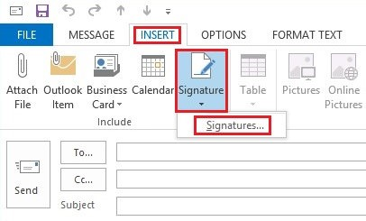 Go the Signatures tab to start creating your Outlook signature.