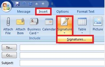 Start setting your Outlook 2007 signature in a new message.