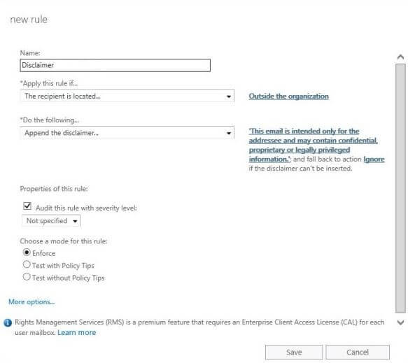 Microsoft 365 (formerly Office 365) Transport Rules - example for a disclaimer