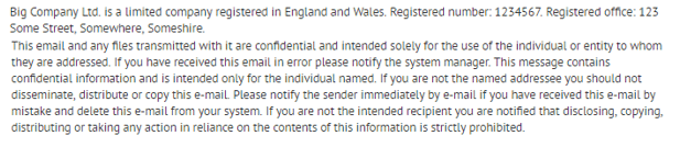 An example block of text that represents a standard email disclaimer.
